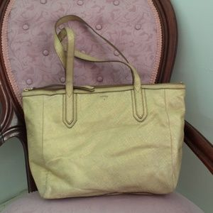 Fossil Gold Textured Leather Tote Bag